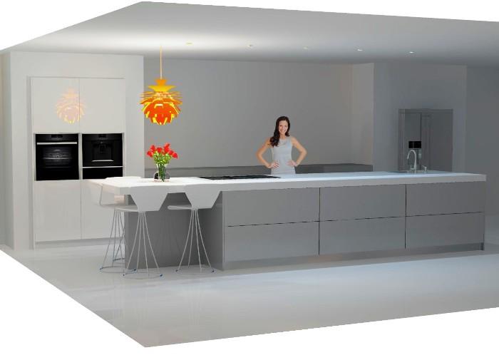 Computertekening van de nieuwe keuken.